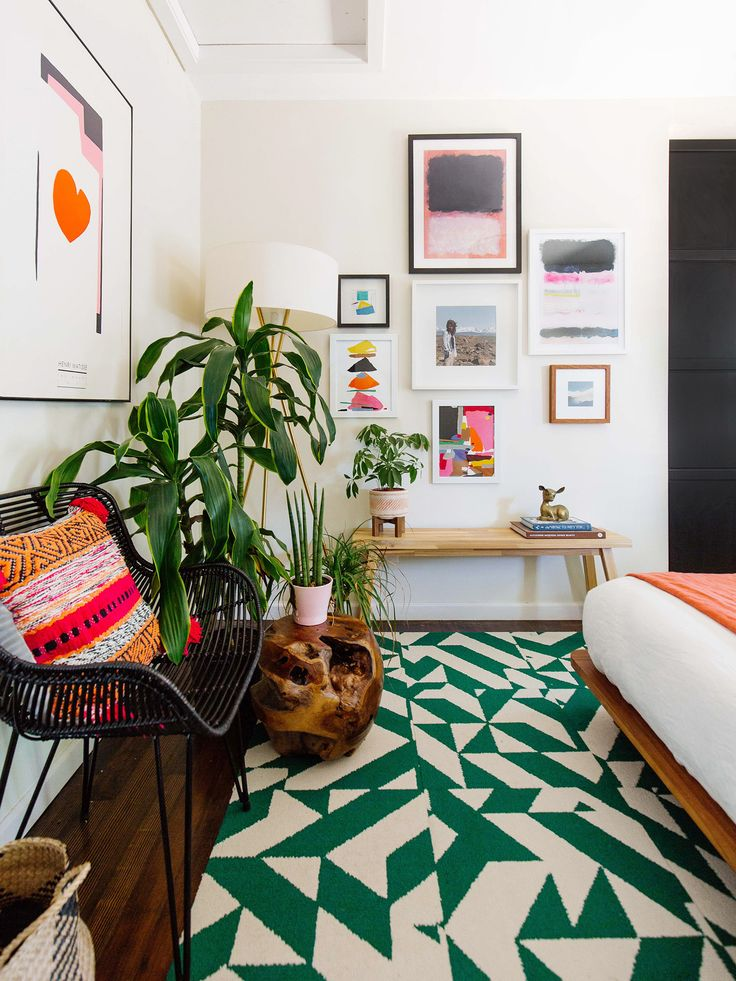 Guest Bedroom Spring Update bright color colorful modern design green orange art