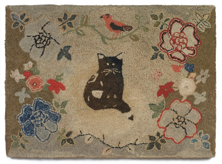 Pictorial Hooked Rug Depicting A Cat And Bird With Floral Border, American,  Late Century.