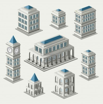 A set of urban and antique buildings in the isometric Stock Photo