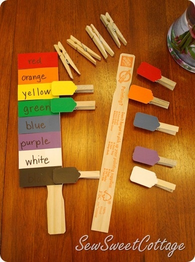 DIY color matching activity for preschoolers or autism therapy--paint chips, paint stick, and clothes pins--FREE