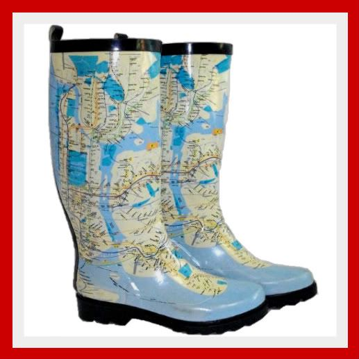 WOMENS-FUN-FUNKY-FESTIVAL-NEW-YORK-MAP-BLUE-WELLIES-WELLINGTON-RAIN-BOOTS-LADIES