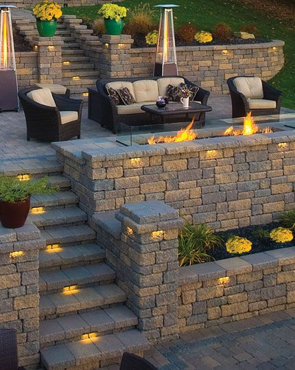 Very Nice Retaining Wall Idea. I Donu0027t Like The Open Flame However.