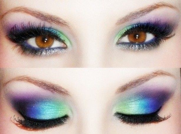 regenboog oogschaduw make up