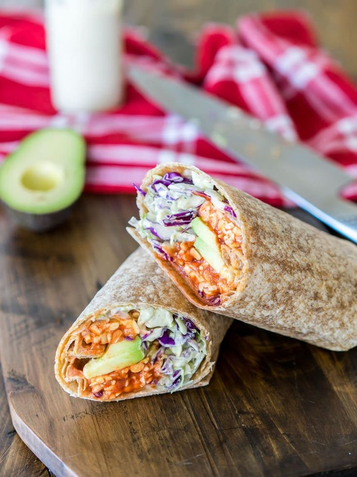 My new favorite wrap with buffalo-coated tempeh and cashew-based ranch dressing.
