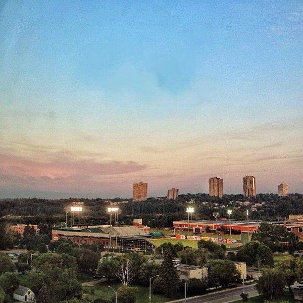 Night sky at the Telus baseball field