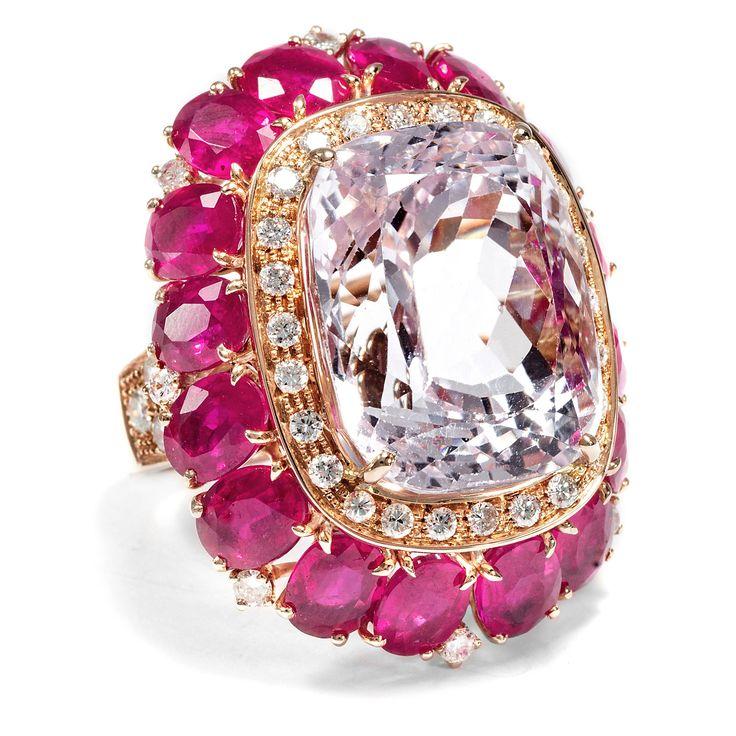 Für prachtvolle Tage - Großer Kunzit-, Diamant- & Rubin-Ring in Rotgold, Italien um 2000 von Hofer Antikschmuck aus Berlin // #hoferantikschmuck #antik #schmuck #antique #jewellery #jewelry // www.hofer-antikschmuck.de