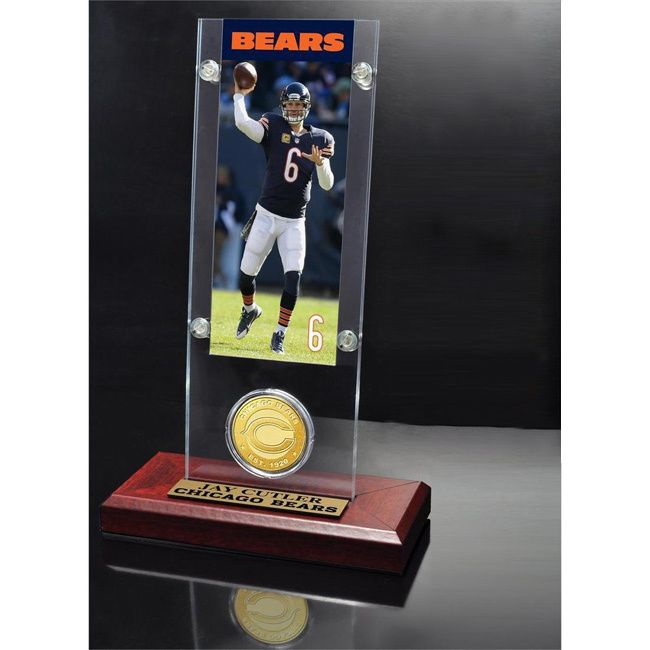 Highland Mint NFL Jay Cutler Chicago Bears Ticket and Bronze Coin Acrylic Desk Top