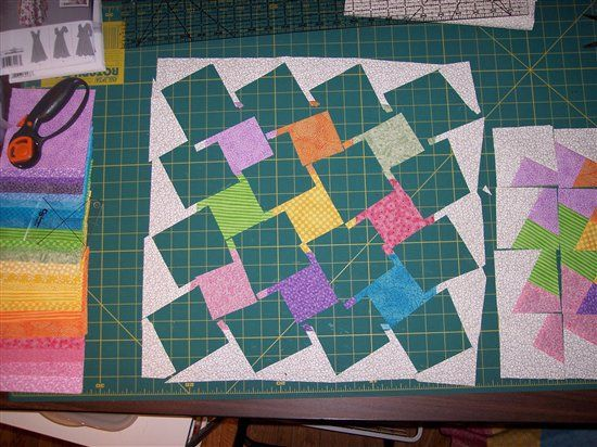 Twister Quilt Block Tutorial - Just creating in my studio Almost no waste method of making Twister block from a bordered 9-patch - also with ideas of how to use the waste bits (such as they are!)