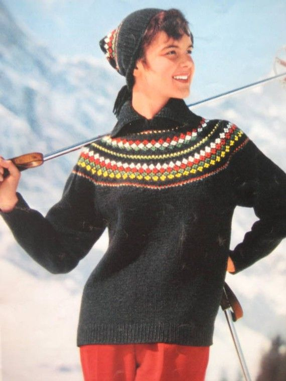1950's Vintage Pattern, Knit Ski Sweater and Matching Hat - Ladies' Knitted Ski Hat and Sweater Pattern 5069