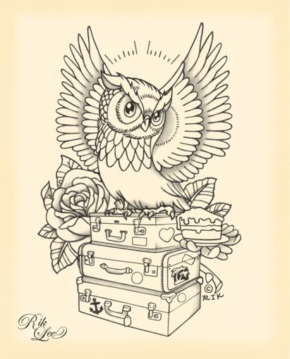 Owl tattoo design by Rik Lee