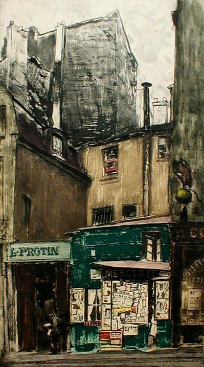 Des Paris Newspaperstand, 1925     Max Pollak 1886 - 1970     color softground etching & aquatint