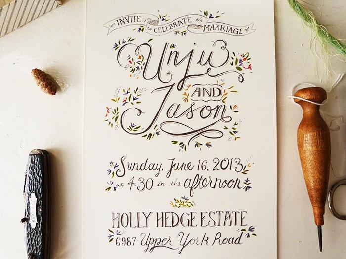 Wedding Invitation Ideas Pinterest: Hand Drawn Invitations, Rustic Garden Wedding