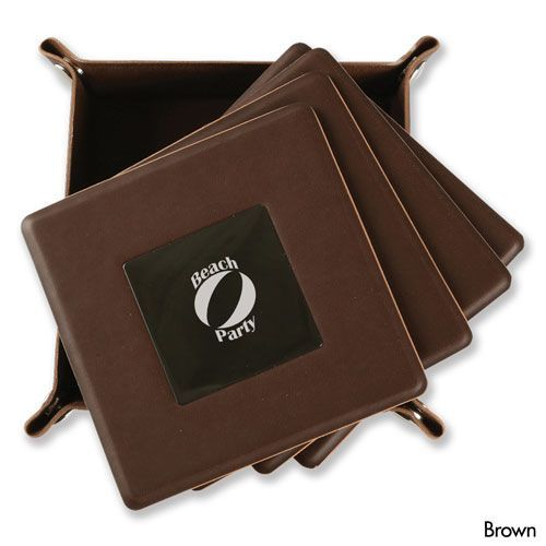 Brown Leatherette Coasters 4 PC WAUCUST1406800  http://woodartsuniverse.com/catalog/product_info.php?products_id=582
