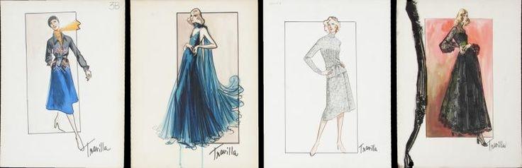 William Travilla - Costumes - Esquisses et Croquis - Projets de Mode - années 60 / 80