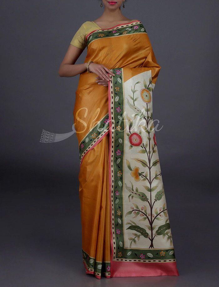 Sasha Plain With Full Bloom Pallu Border Pure #KosaSilkSaree