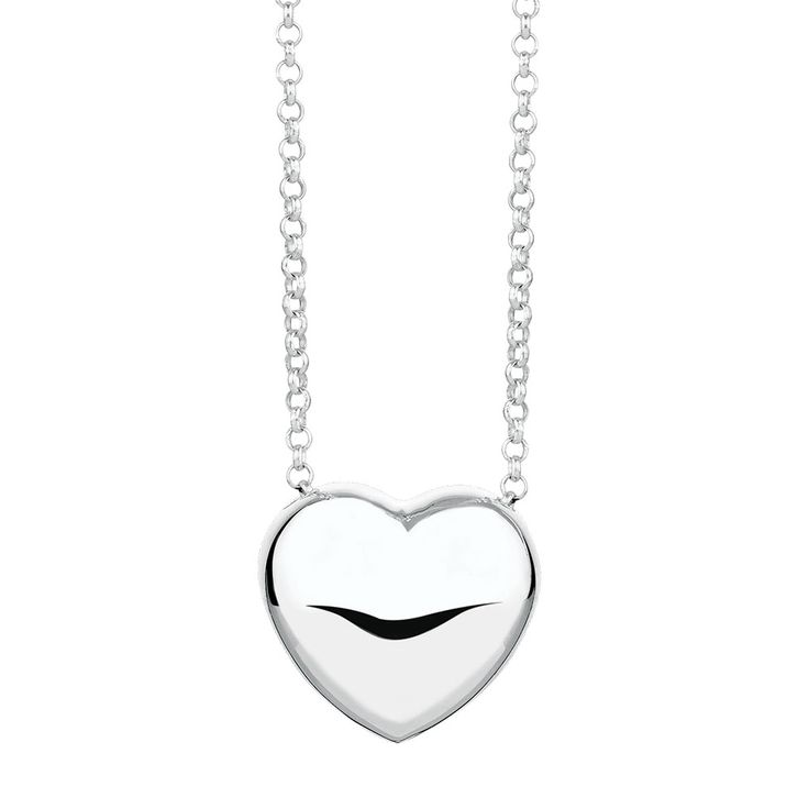 Bring your love to life with this exquisite sterling silver pendant, featuring a puffed heart suspended from a sterling silver chain.