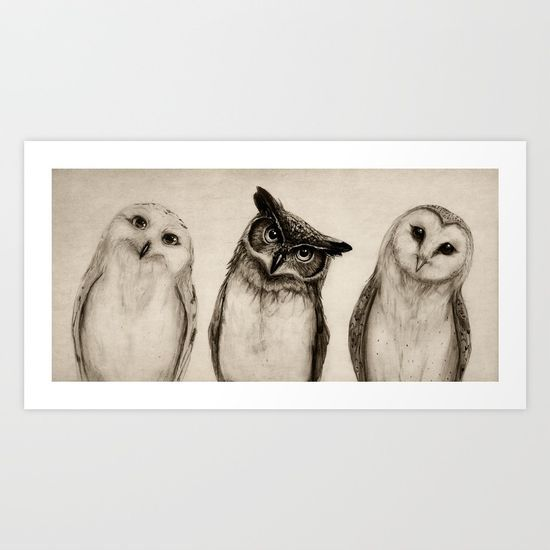 The Owl's 3 Art Print by Isaiah K. Stephens. Worldwide shipping available at Society6.com. Just one of millions of high quality products available.