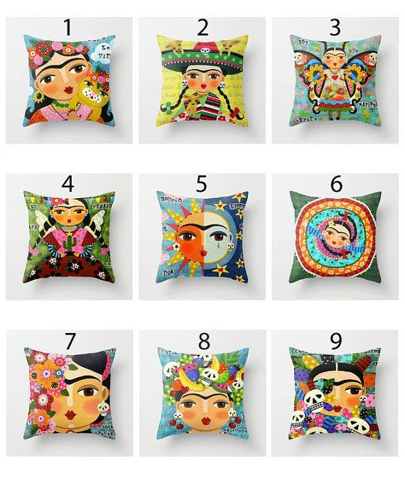 Black Friday 30% off - 9 different styles of FRIDA Kahlo 16 x16 PILLOW COVER sham case by LuLu