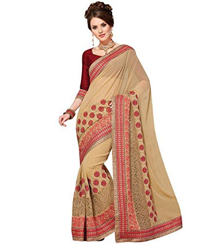 Indian Ethnic Faux Georgette and Net Beige Bridal  Wedding Saree >>> Click image to review more details.