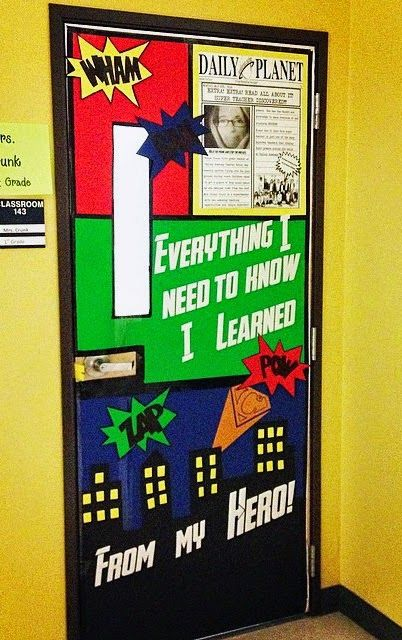 25 best ideas about superhero door on pinterest for Back to school decoration ideas for teachers