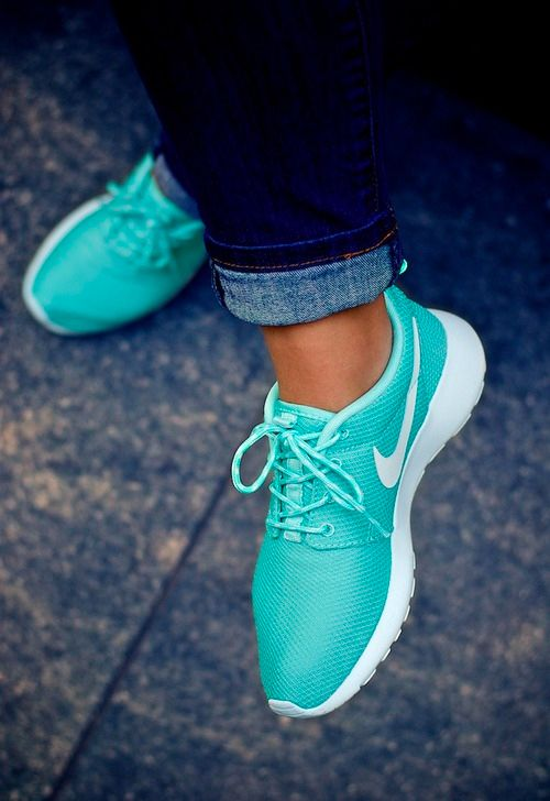 Nike Roshe Run. Turquoise & White. Beauty. Fresh. Sport. Speed. Training. Street Style. Jeans. Blue. Folded. Woman. Fashion. Clothing. Summer.