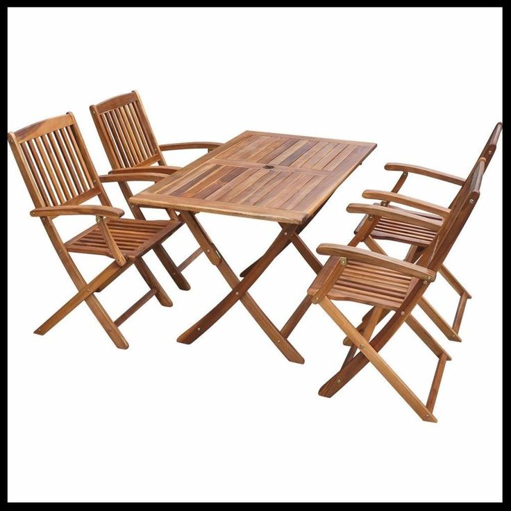 Wooden Dining Set Table And 4 Chairs Foldable Patio Outdoor Furniture 5 Pcs  Uk