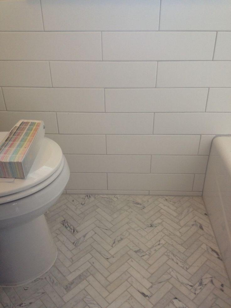 Bianco Venatino Herringbone Bathroom Project