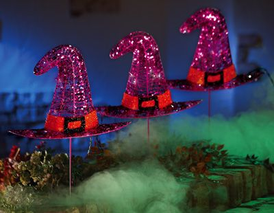 glitter witch hat lighted halloween yard stakes - Light Up Halloween Decorations