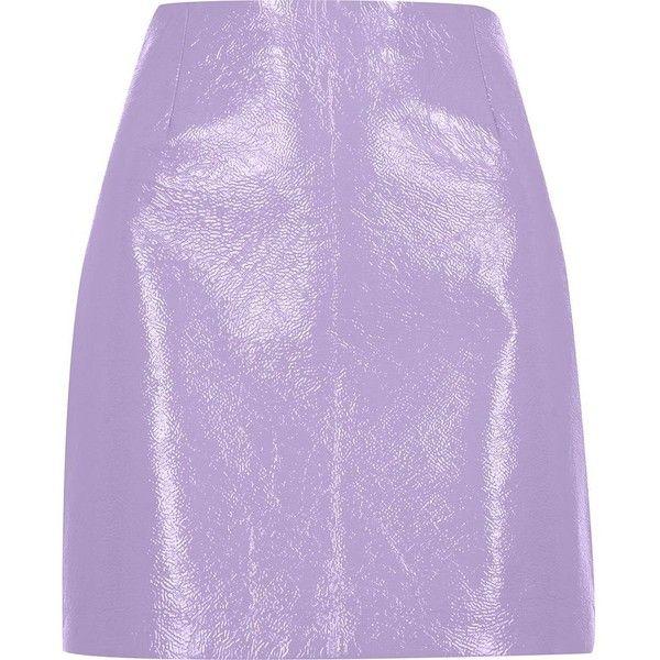 River Island Purple patent mini skirt (€53) ❤ liked on Polyvore featuring skirts, mini skirts, purple, women, tall skirts, patent skirt, a-line skirt, patent leather skirt and mini skirt