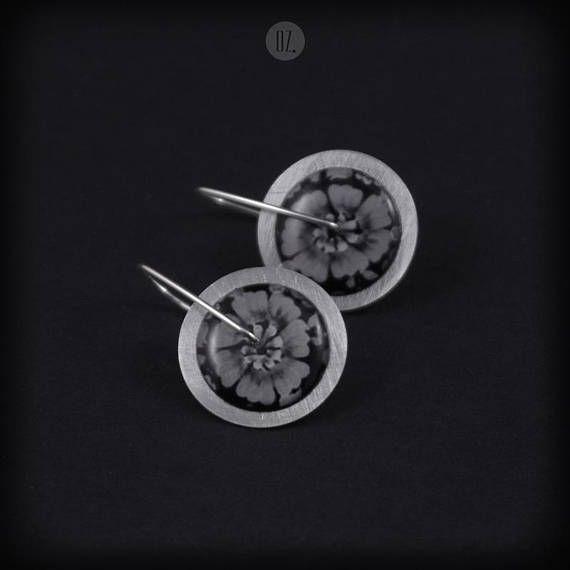 Short earrings Circles Dark Gray Flowers Mini 100% handmade