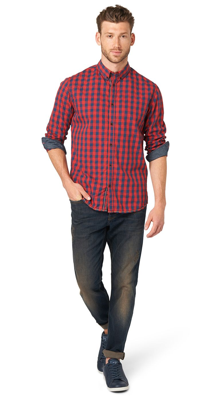 checked button-down shirt for men (checked, long-sleeved with button-down collar; fastens with a button panel) - TOM TAILOR