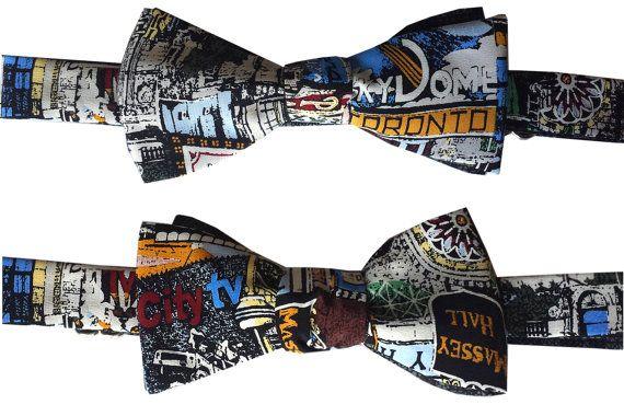 Toronto City Sights Map Bow Tie  Self-tie by #VIVIDStreetwear, Custom Accessories Designer in Toronto