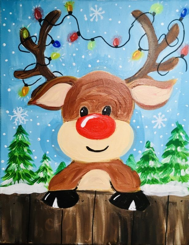 How To Paint A Cute Rudolph Christmas Canvas Art Happy Paintings