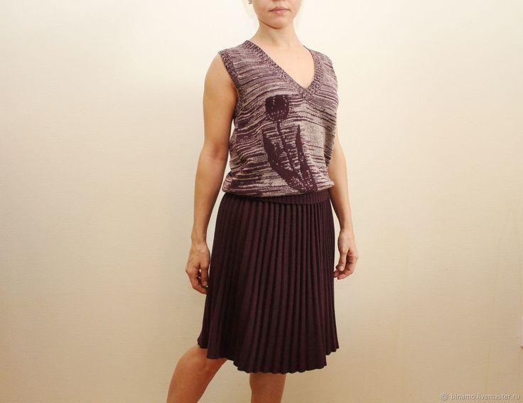 Купить Шерстяная вязаная юбка плиссе - бордовый, машинная вязка, вязаная юбка, шерстяная юбка