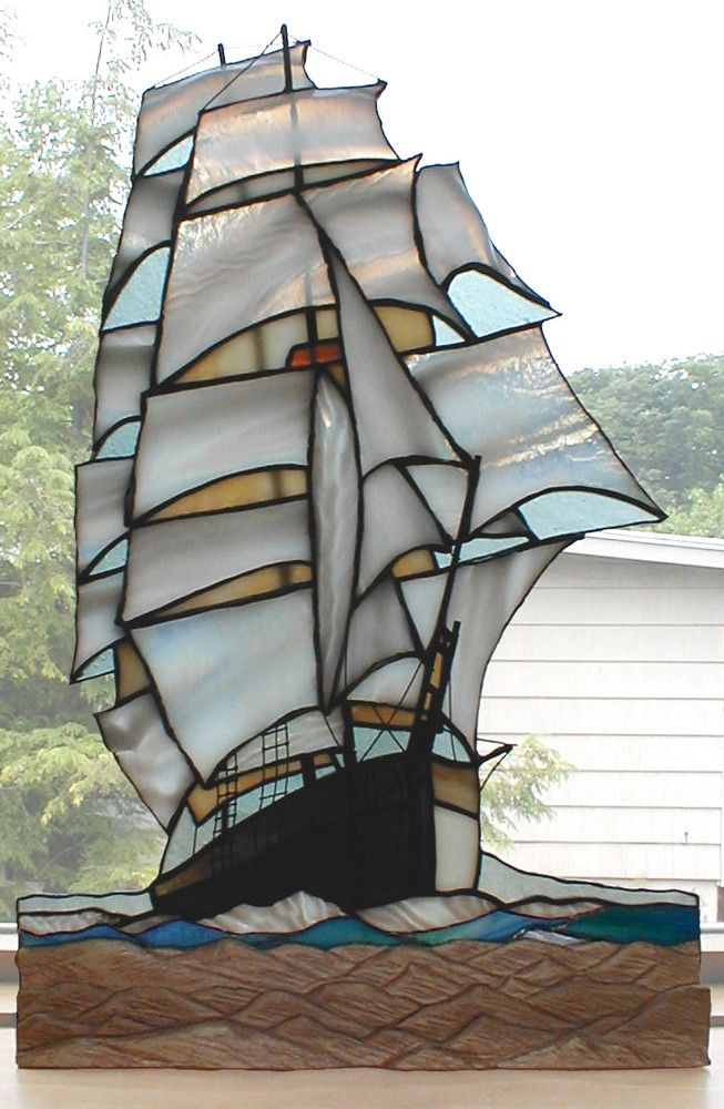 Tall Ship Stained Glass Art