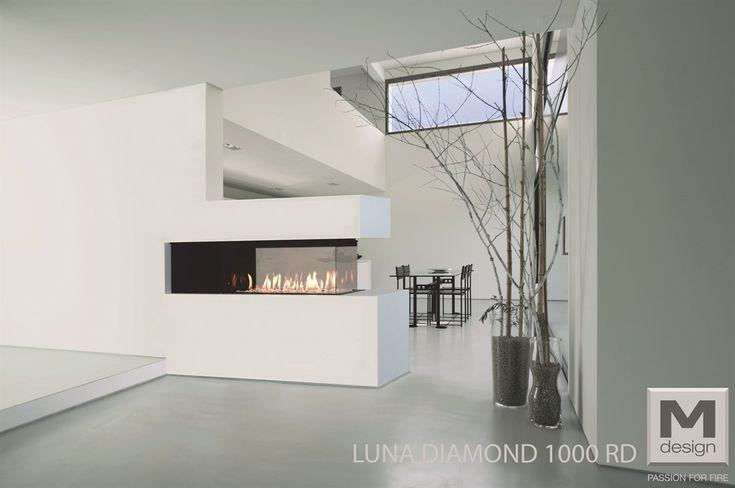 M-Design gashaard roomdivider Luna Diamond 1000RD-1300RD- open haarden ideeën #gashaard #doorkijkhaard #haarden