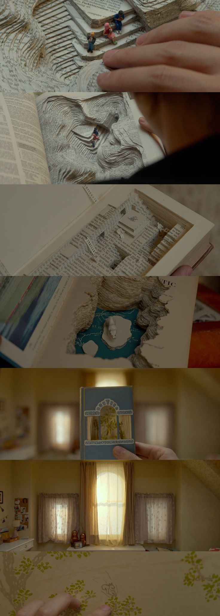 Book carvings and the wallpaper drawing from the final scene of Me and Earl and the Dying Girl by Alfonso Gomez-Rejon starring Thomas Mann and Olivia Cooke
