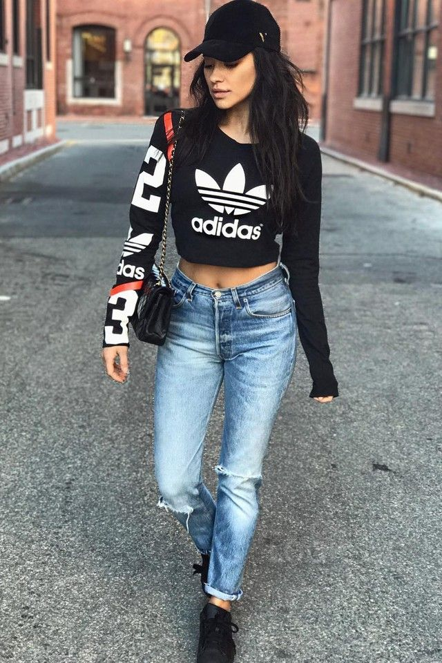 Shay Mitchell wearing  Adidas Basketball Number Crop Top, RE/DONE Ripped Jeans, Vianel New York Suede Hat, Adidas Superstar Foundation Sneakers, Chanel Classic Double Flap Bag