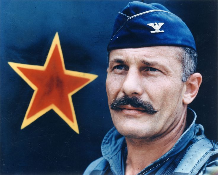 Olds, Robin, Colonel, United States Air Force, 8th Tactical Fighter Wing, with red star, circa 1967, color. (U.S. Air Force)