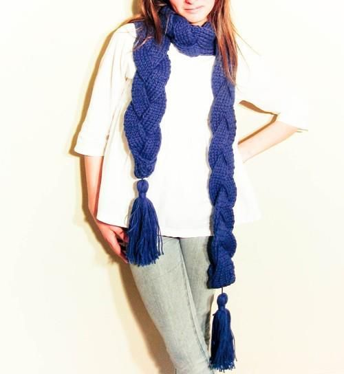 Lacivert saç örgüsü bayan atkı modelleri