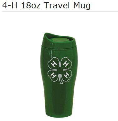 Bring the 4-H Clover with you everywhere you go with this handy travel mug.