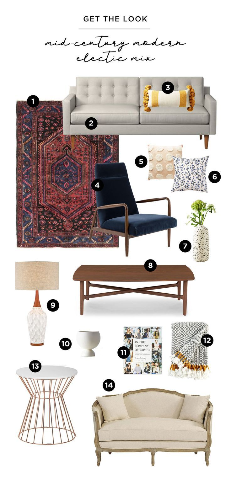 Mid-Century Modern Eclectic Living Room Mix: Entde…