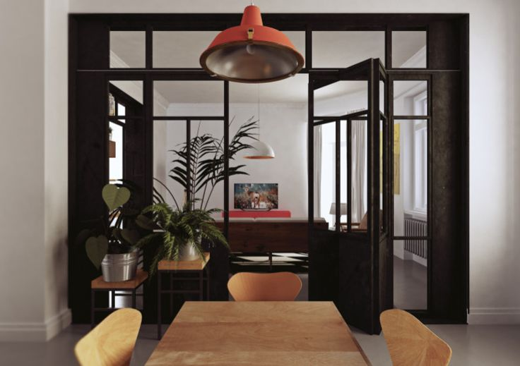 visualization of apartment located in Poland, connect  dining room with living room.steel doors could be your inspirations Plants always are good ideas!
