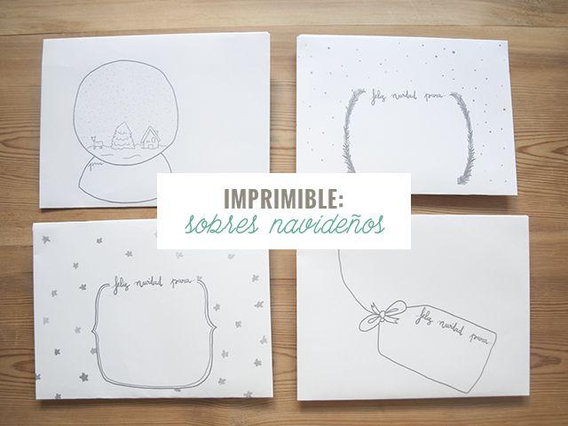 Cuatro sobres imprimibles y decorados especialmente para Navidad :)