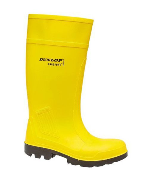 Dunlop Purofort Full Safety Standard Welly in Yellow   The Dunlop Purofort Full Safety Standard Wellington Boot is a Polyurethane welly that comes with a steel toe cap and mid sole for safety. Insulated against the cold down to -20 degrees C (rated) and oil resistant this Dunlop welly is a firm favourite for our customers working in the fishing industry. EN345 rated. S5 safety category with SRA slip resistance.      Best safety practice is offered with steel toe cap & midsole     Constructed…