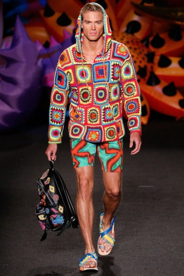 #Crochet Granny Square Jacket - Moschino Spring 2017 #Fashion