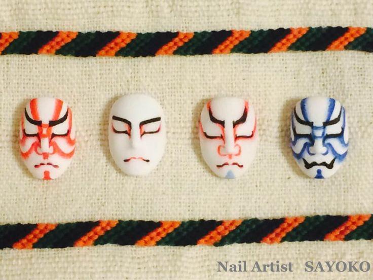 """歌舞伎独特のメイク方法""""隈取""""は、色によって意味が違うって知ってますか? ネイルで楽しむ歌舞伎の世界を見てみてくださいね"""