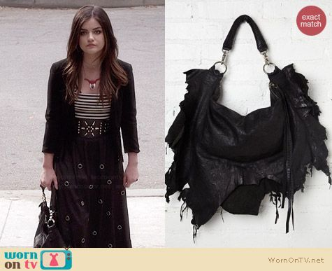 Aria's black ripped handbag on Pretty Little Liars.  Outfit Details: http://wornontv.net/34579/ #PLL