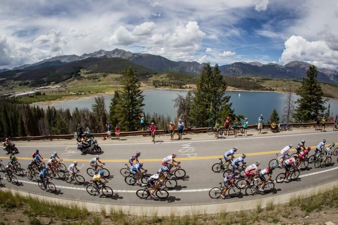 Riders head up the first KOM past Dillon Reservoir on Stage 3 USA Pro Challenge 2013