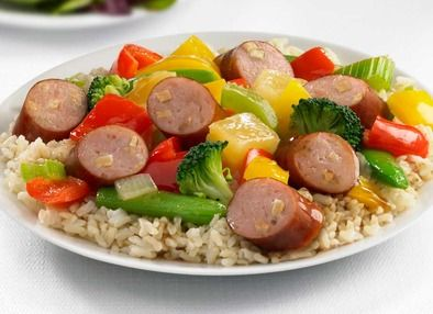 Johnsonville Apple Chicken Sausage Sweet and Sour Stir Fry * I have made this numerous times and we really like it. The recipe is on the package. We just use regular white rice in a rice cooker.